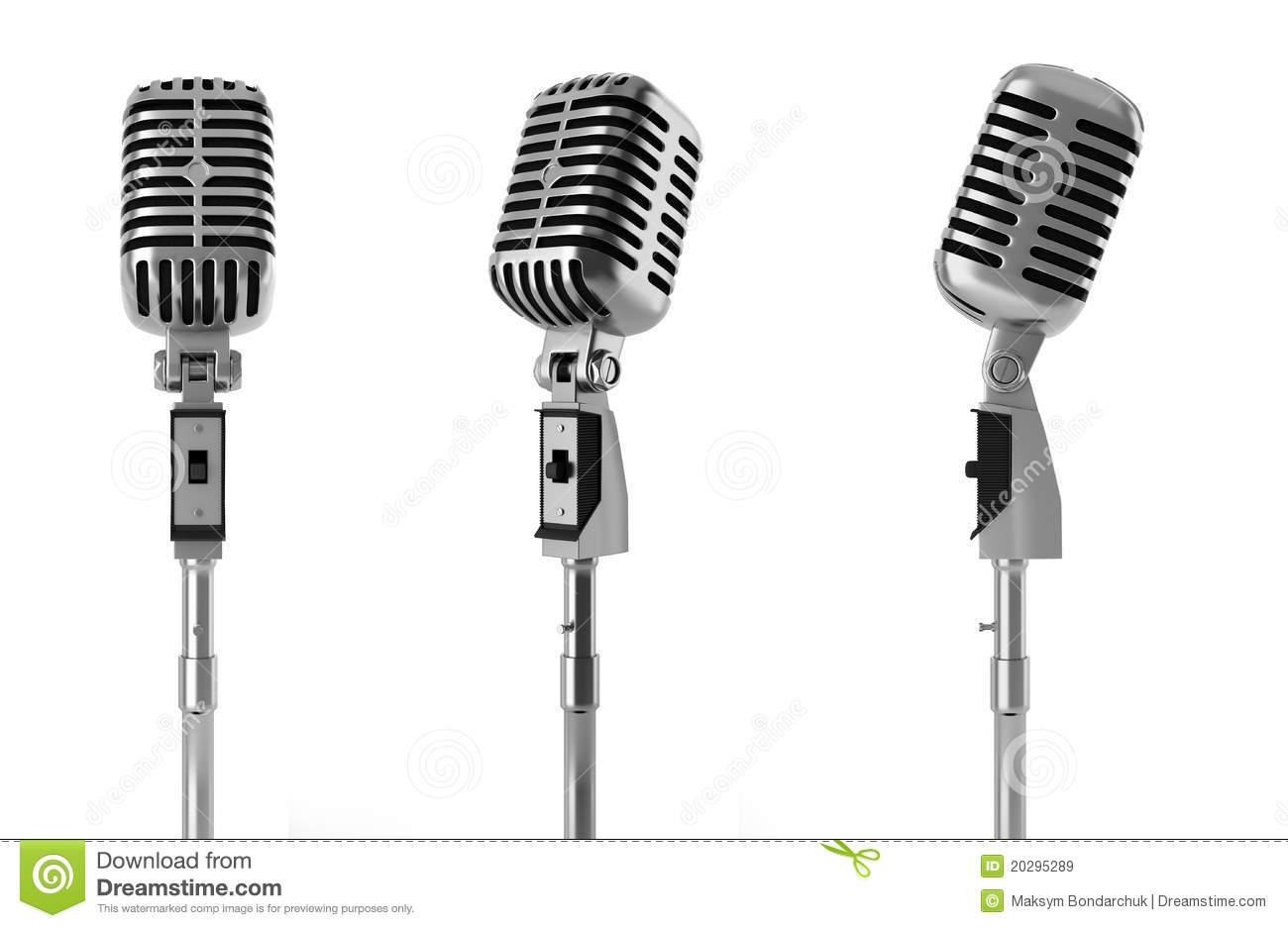 Vintage Microphone Isolated On White Stock Illustration