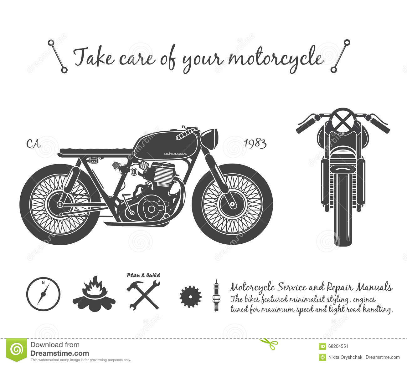 Vintage Motorcycle Infographic Cafe Racer Theme Stock