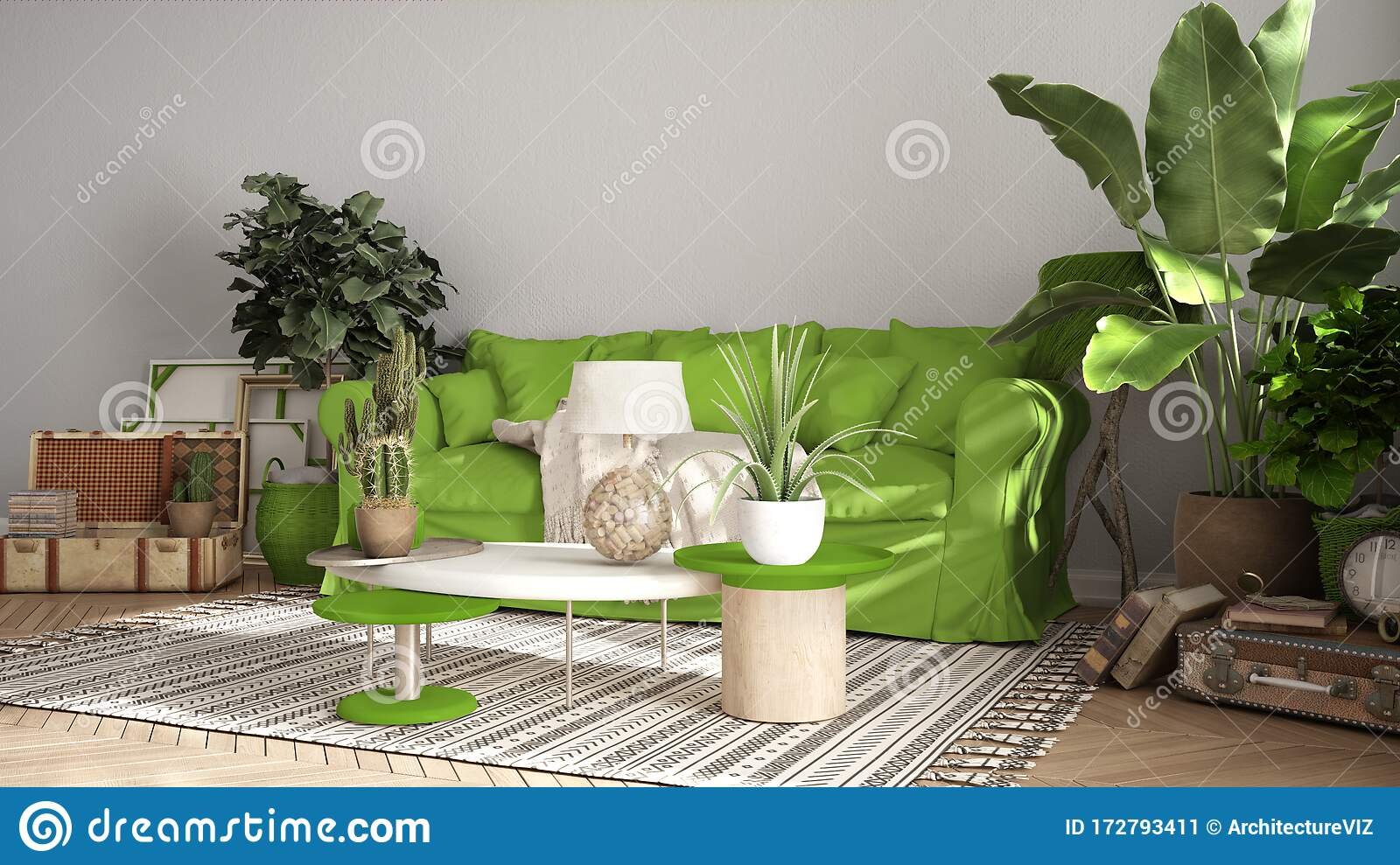 Vintage Old Style Living Room In Green Tones Sofa Carpet And Pillows Tables With Decors And Potted Plants Carpet Window Stock Illustration Illustration Of Indoor Design 172793411