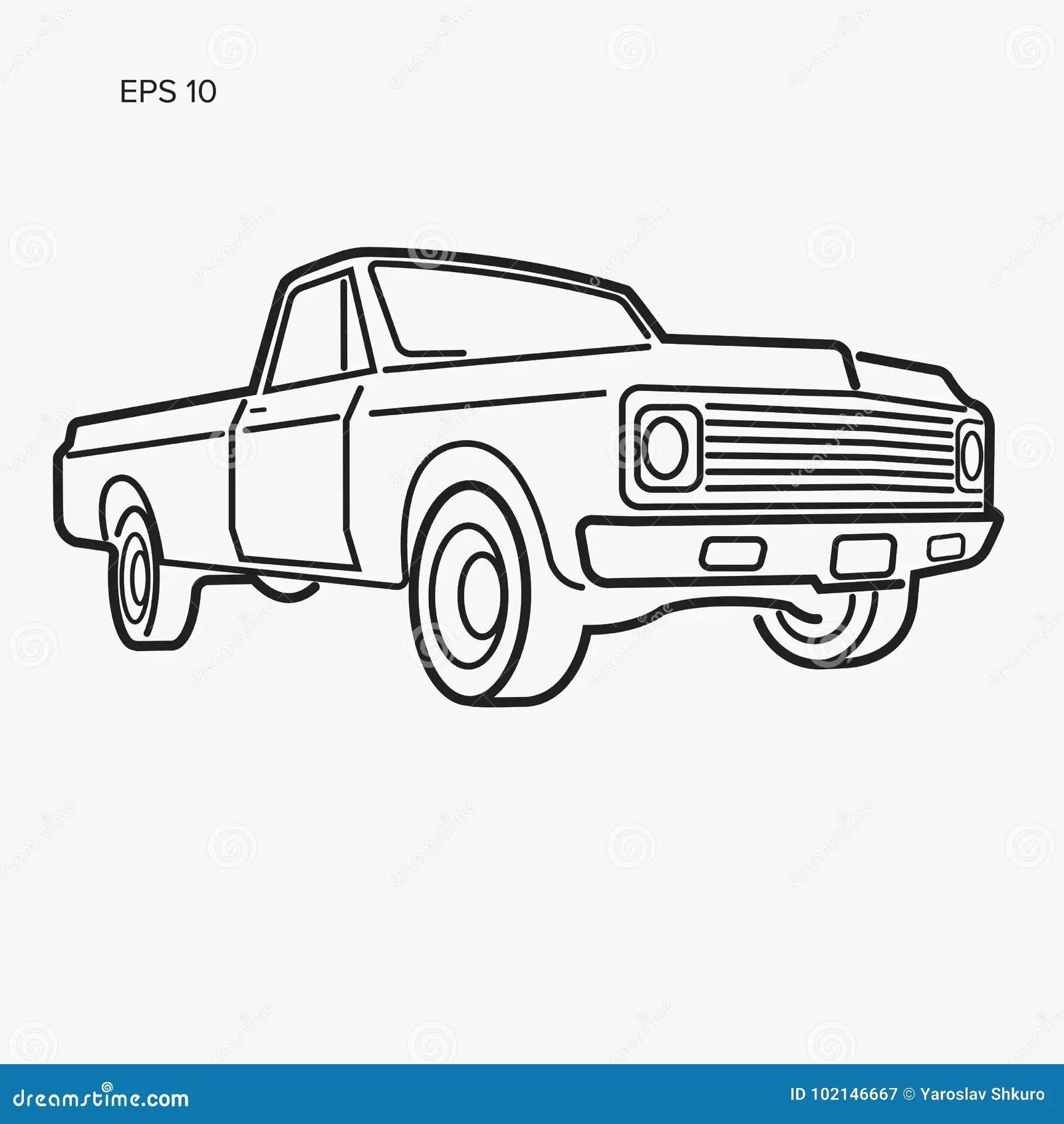 Vintage Pickup Truck Vector Illustration Oldschool