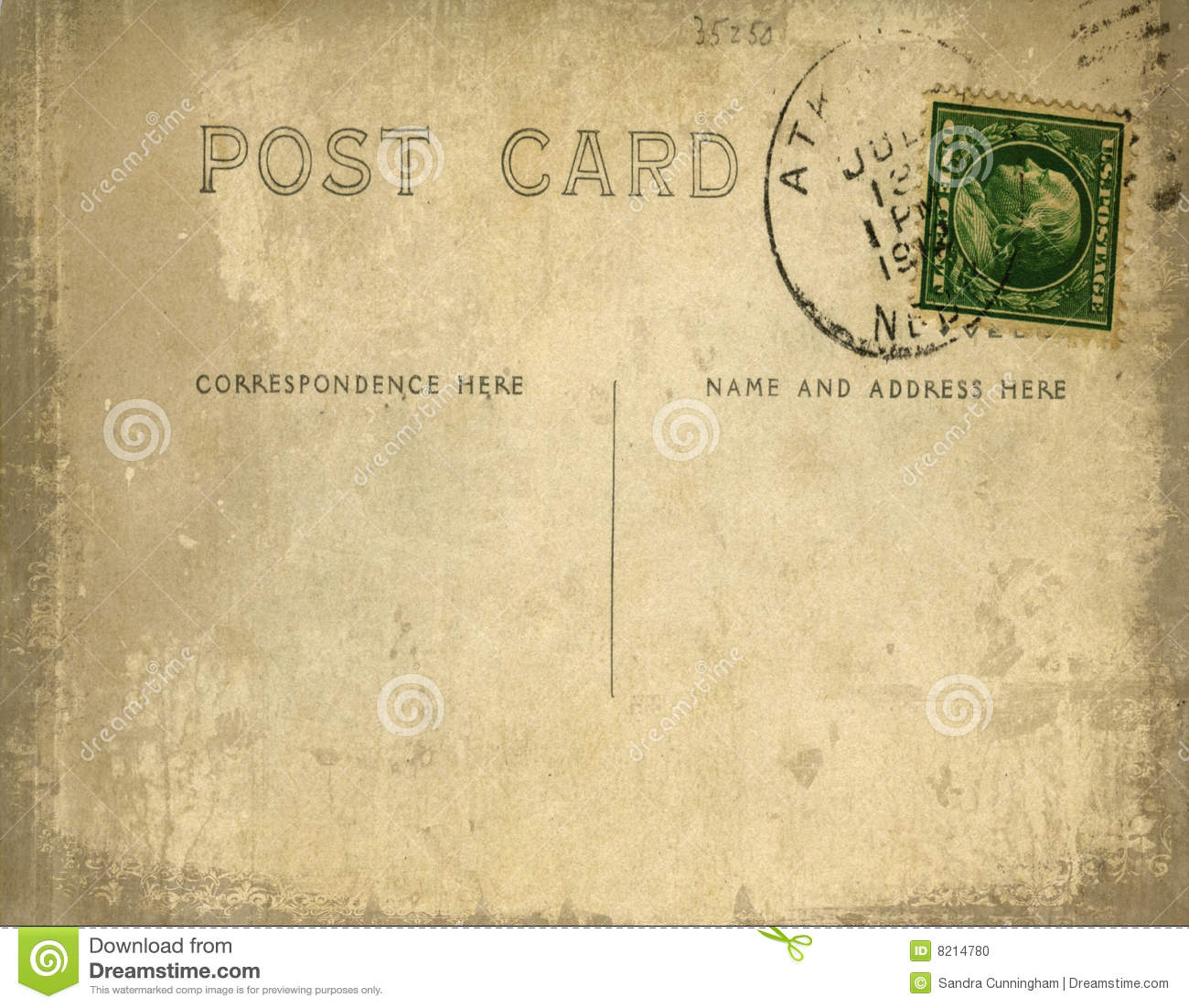 Vintage Postcard With Grungy Background Stock Illustration