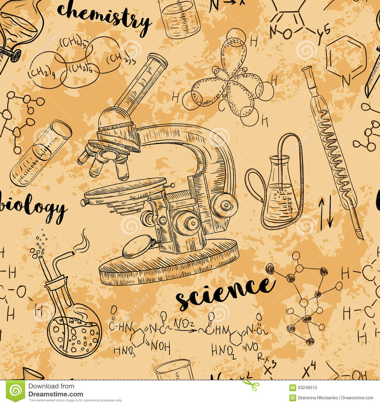 Vintage Seamless Pattern Old Chemistry Laboratory With