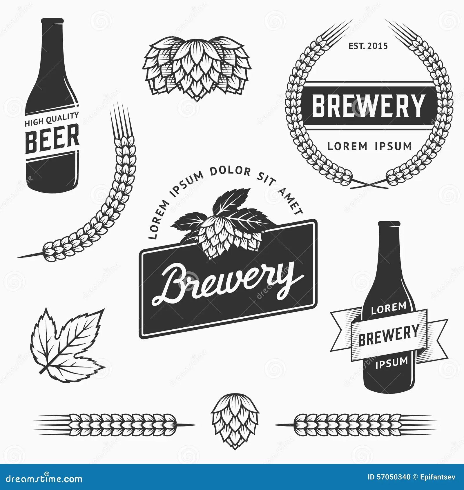 Vintage Brewery Labels Cartoon Vector