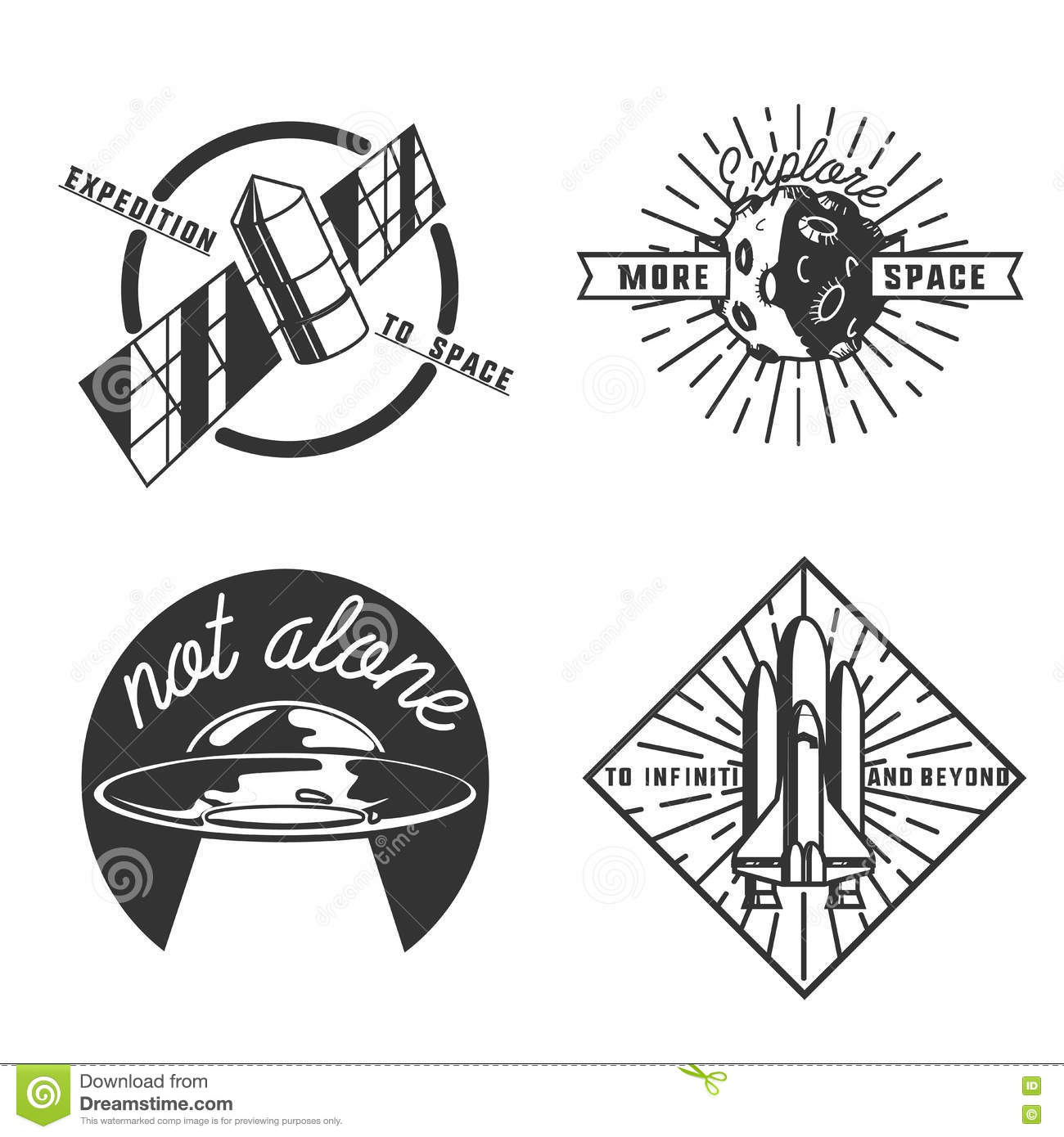 Vintage Space Emblems Stock Vector