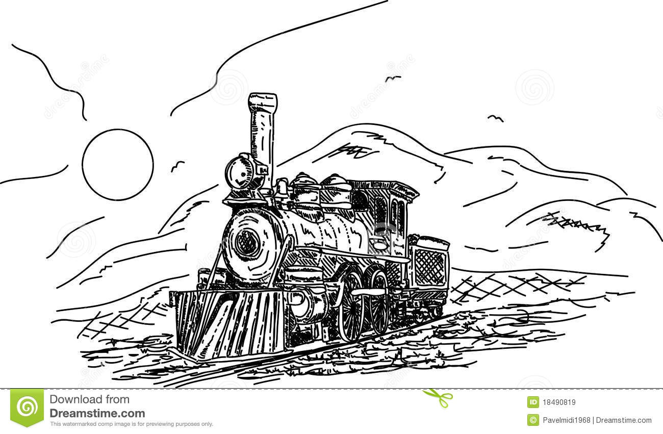Vintage Steam Engine Stock Vector Illustration Of Cartoon