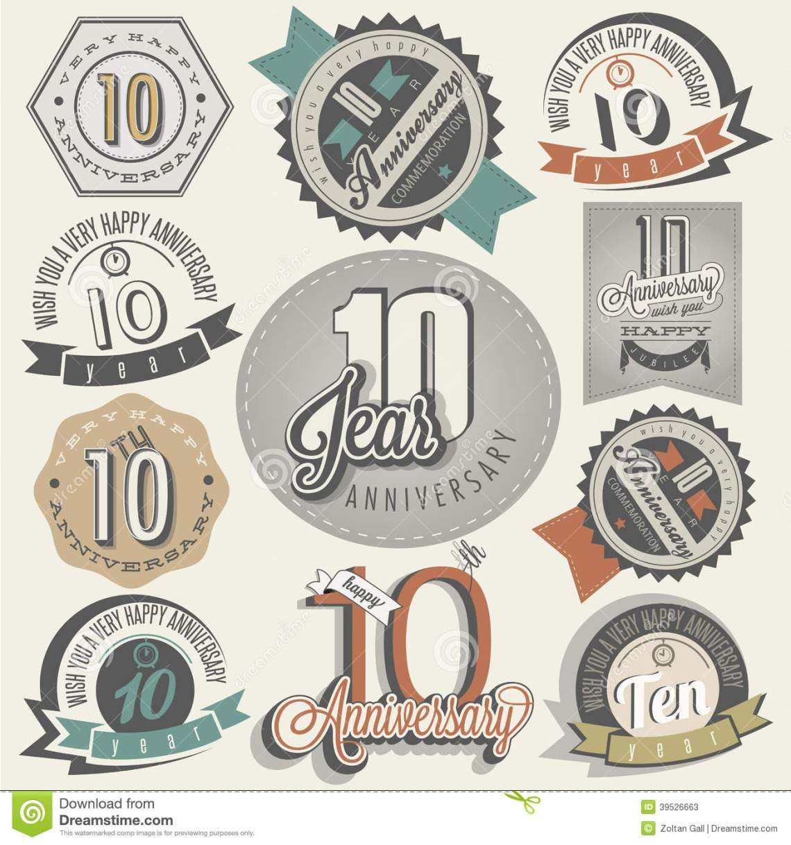 Download Vintage Style 10 Anniversary Collection. Stock Vector ...