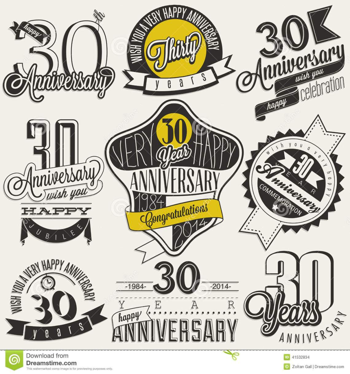 Download Vintage Style 30 Anniversary Collection. Stock Vector ...