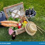 Vintage Style Wicker Picnic Hamper Stock Image Image Of Outside Bottles 149709143