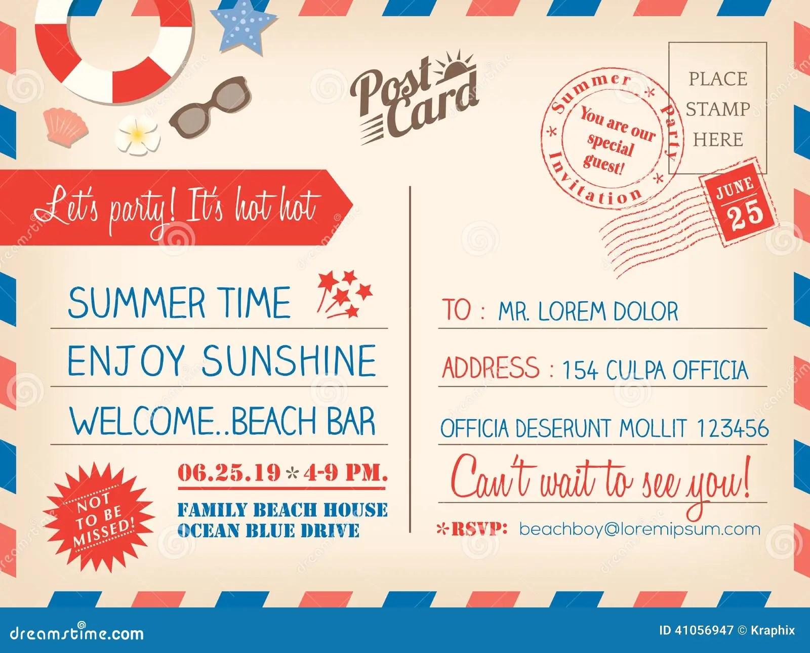 Vintage Summer Holiday Postcard Background Template For