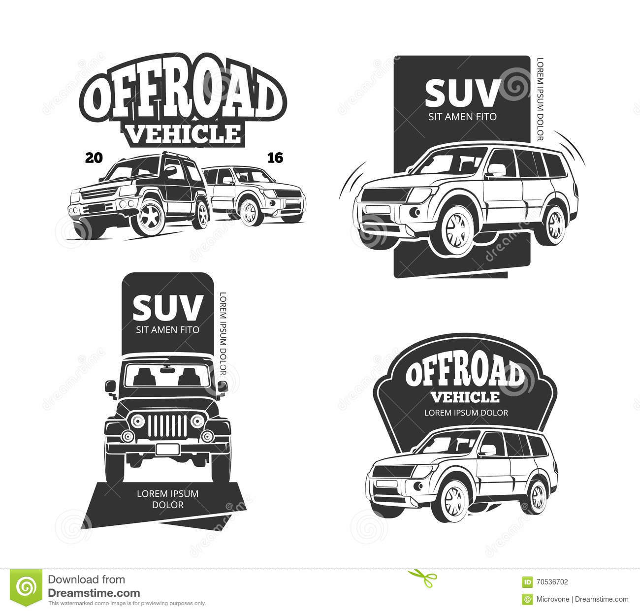 Vintage Suv Car Vector Badges Labels Logos Stock Vector
