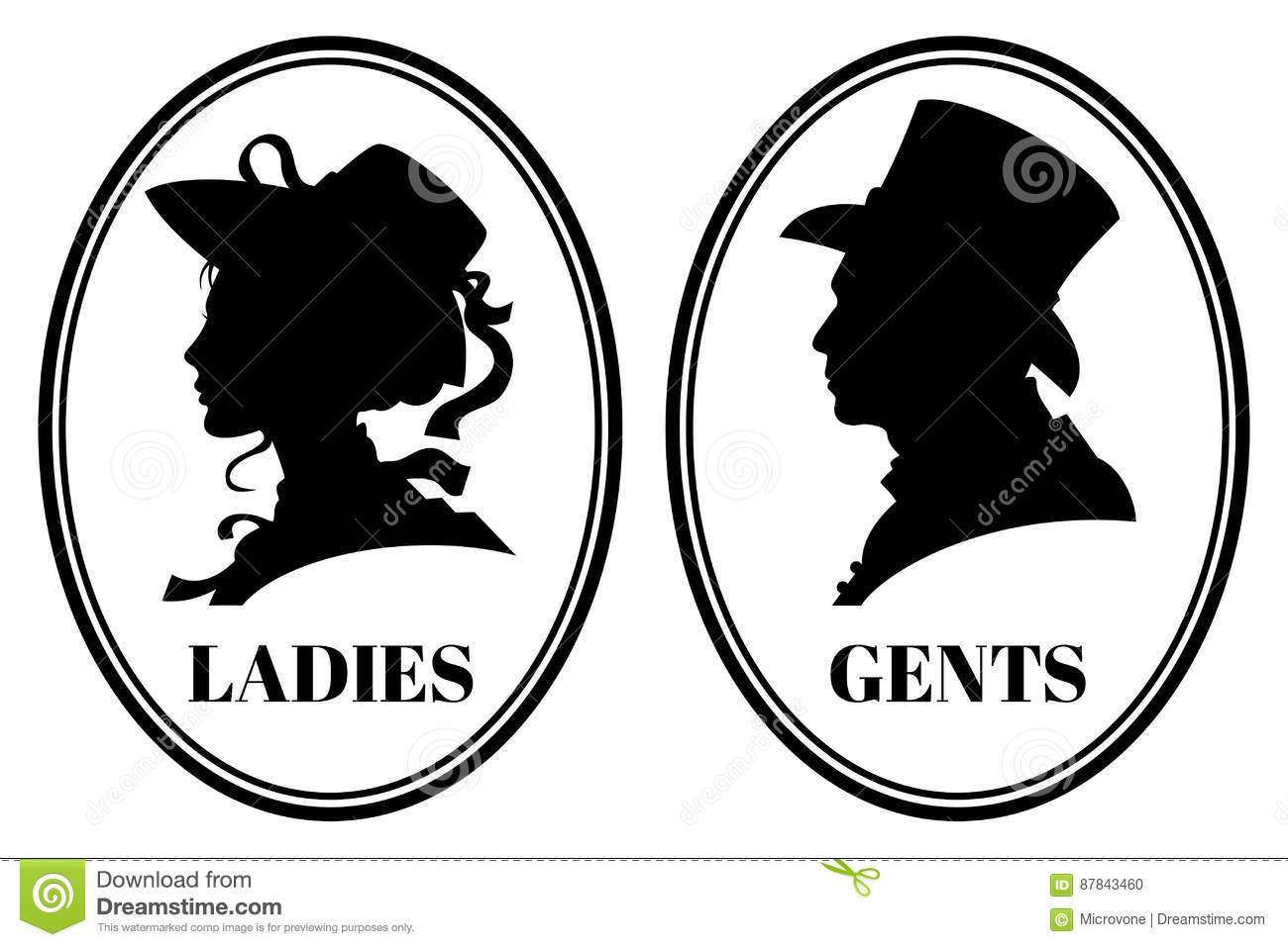 Vintage Toilet Wc Vector Sign With Lady And Gentleman Head