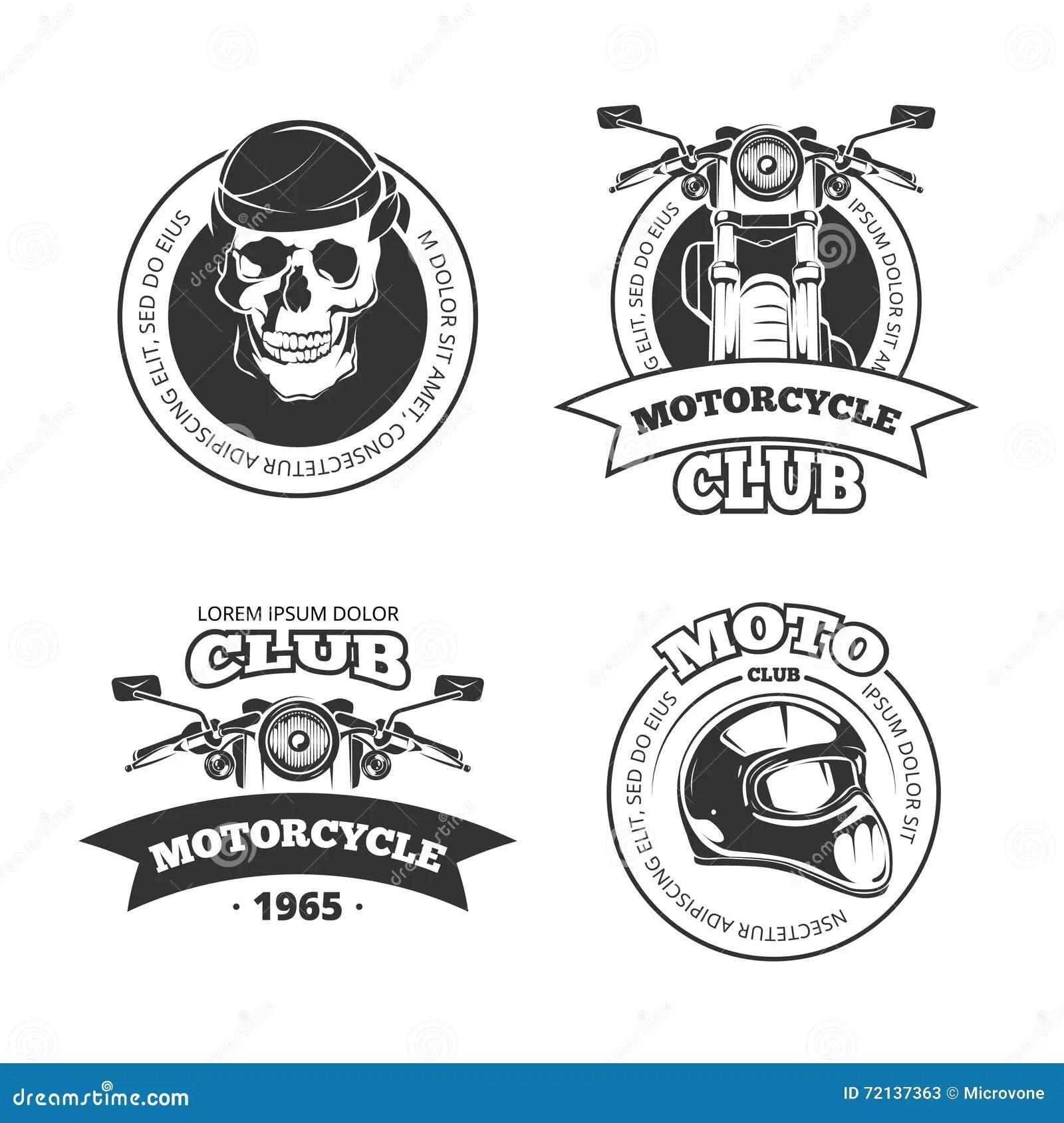Vintage Vector Motorcycle Or Motorbike Club Emblems Stock