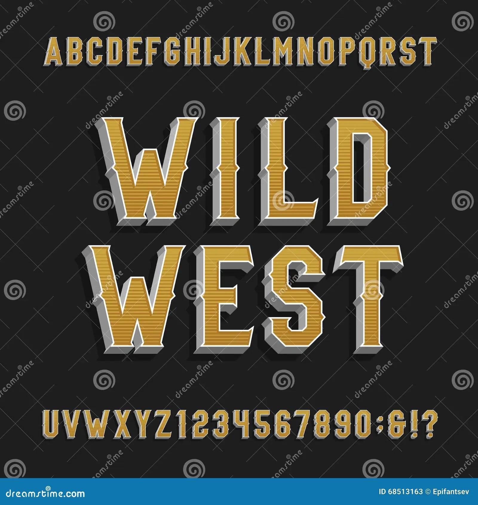 Vintage Wild West Alphabet Vector Font 3d Effect Letters