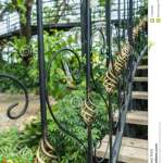 A Detail Of Curved Metal Railing At Outdoor Stairs Stock Photo Image Of Entrance Iron 116408464