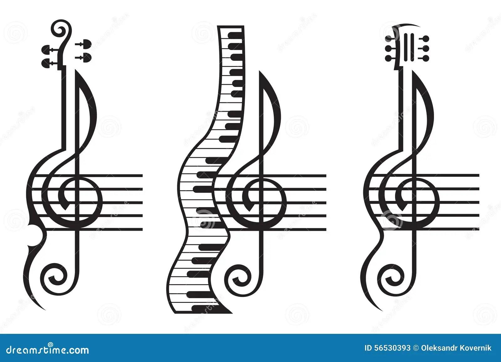 Violino Guitarra Piano E Clave De Sol Ilustracao Do