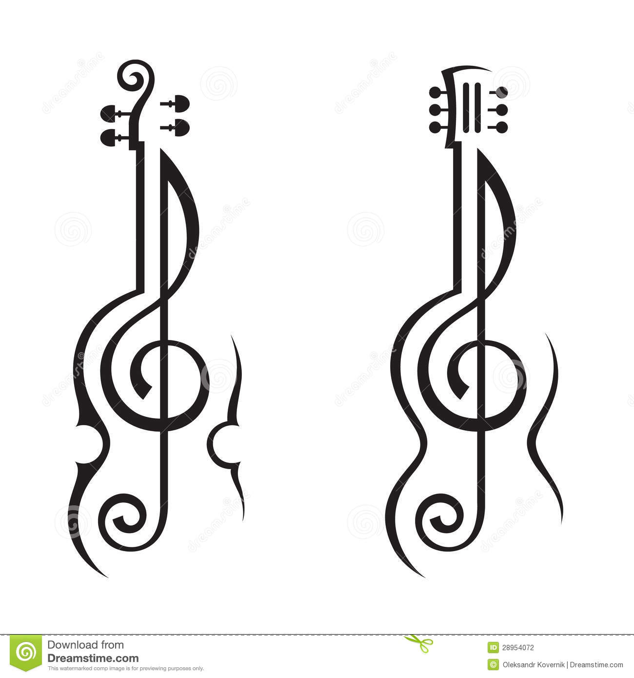 Violon Guitare Et Clef Triple Illustration De Vecteur