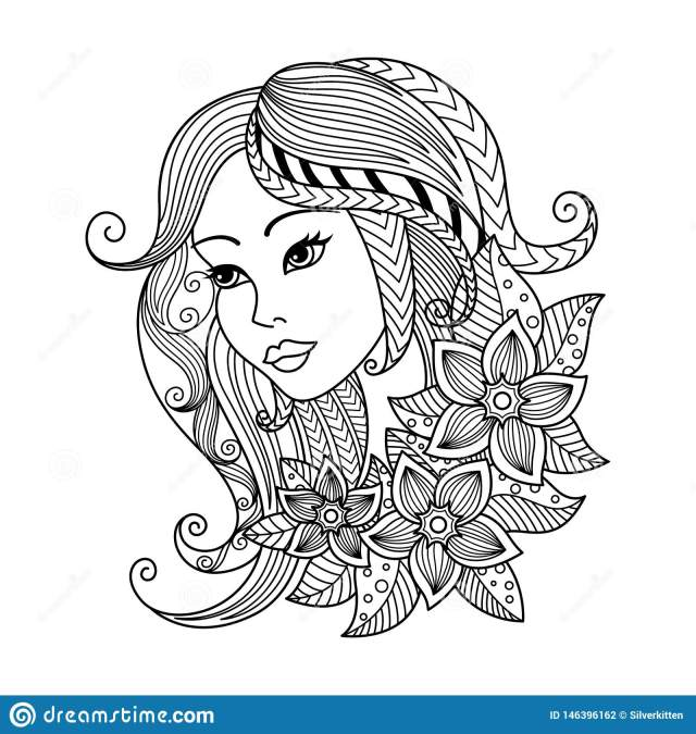 Virgo Zodiac Sign. Zentangle Coloring Book Page for Adult Stock