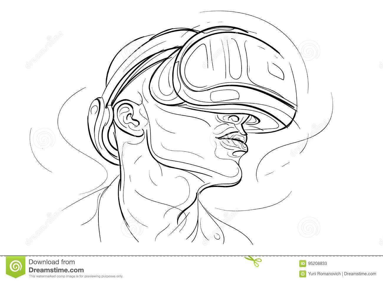 Virtual Reality Headset Vr Headset Drawing