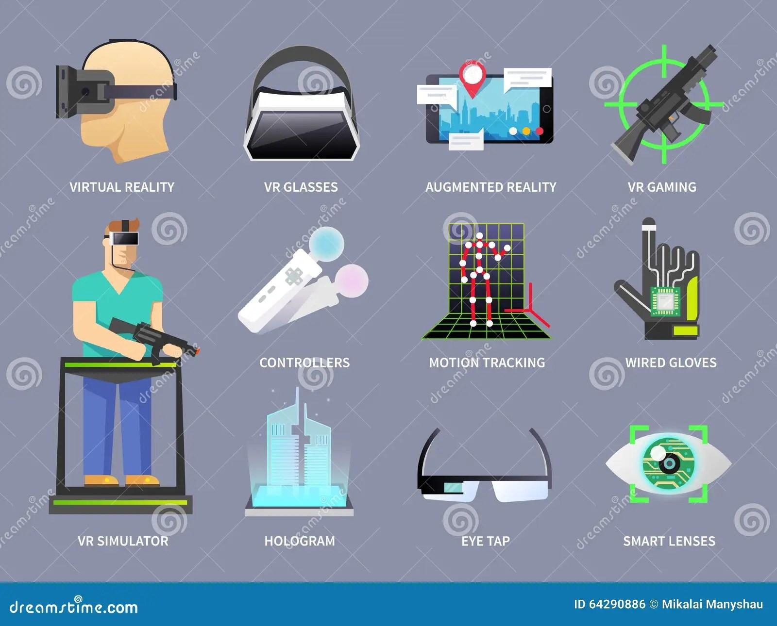 Virtual Reality Icons Set Stock Vector