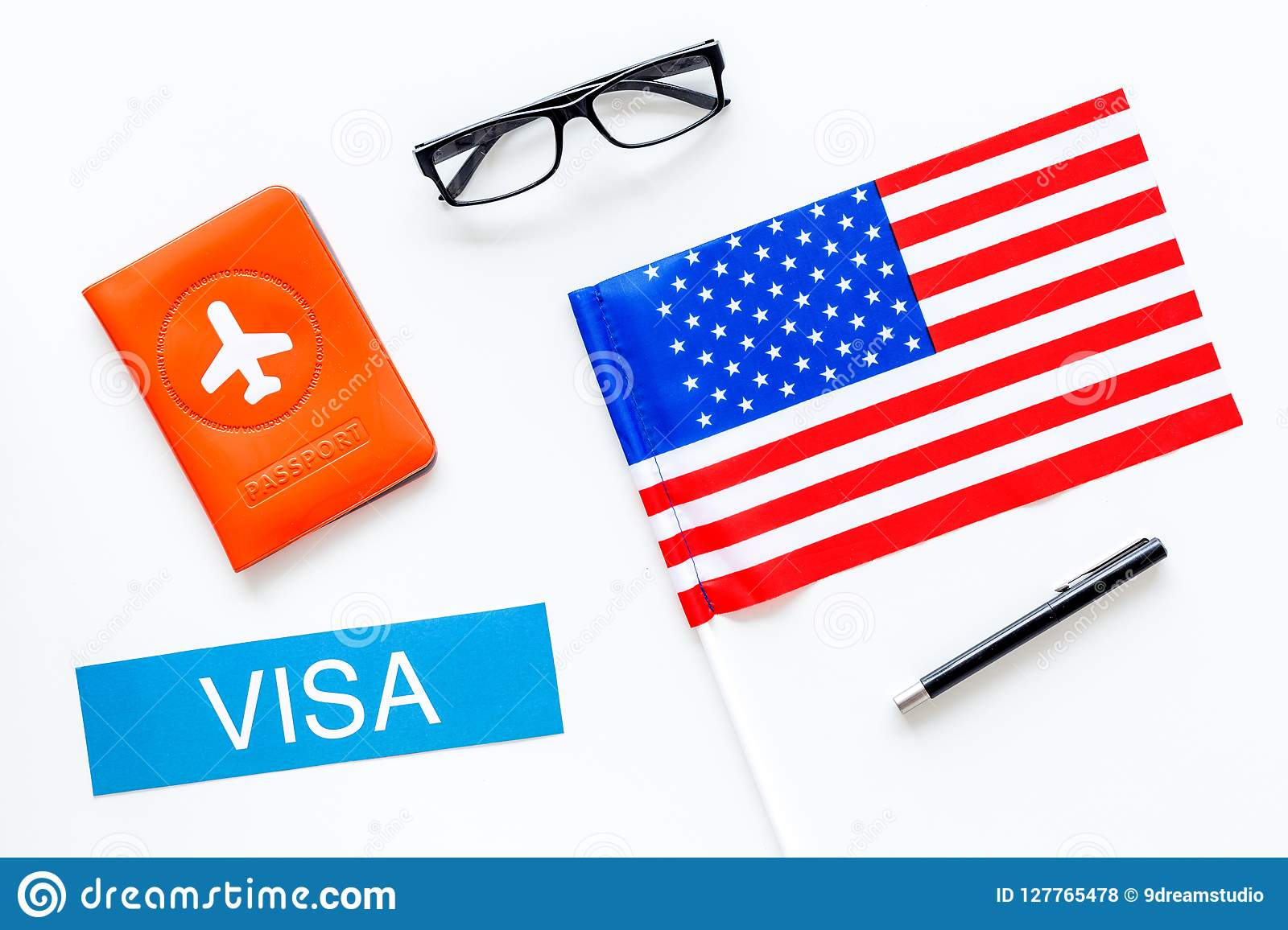 Visa To United States Of America Concept Text Visa Near