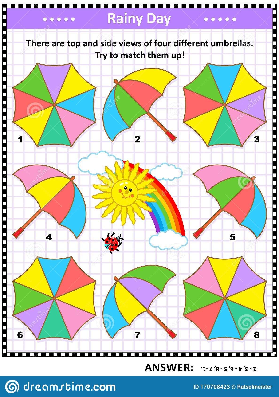 Visual Puzzle With Top And Side Views Of Colorful