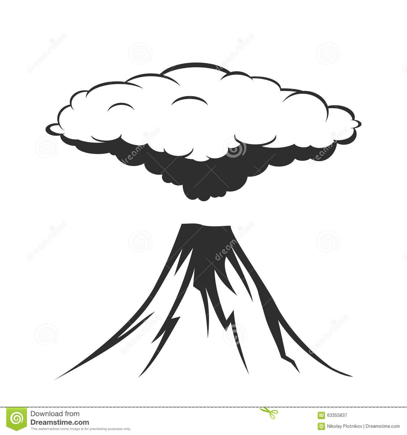 Volcanic Eruption With Clouds Of Smoke Stock Vector