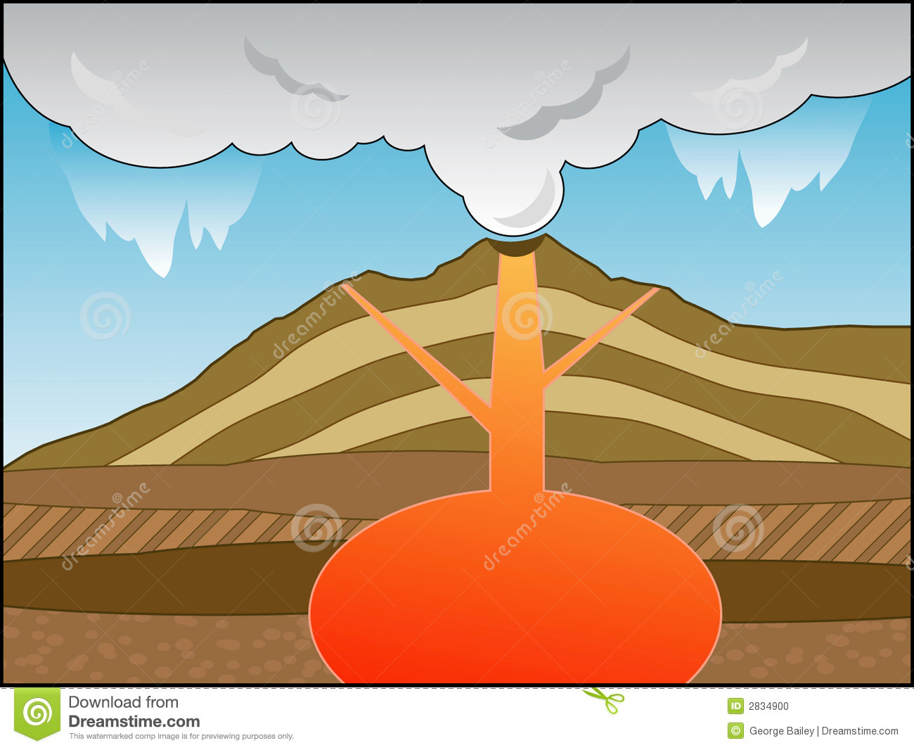 Volcano Cross Section Stock Vector Illustration Of