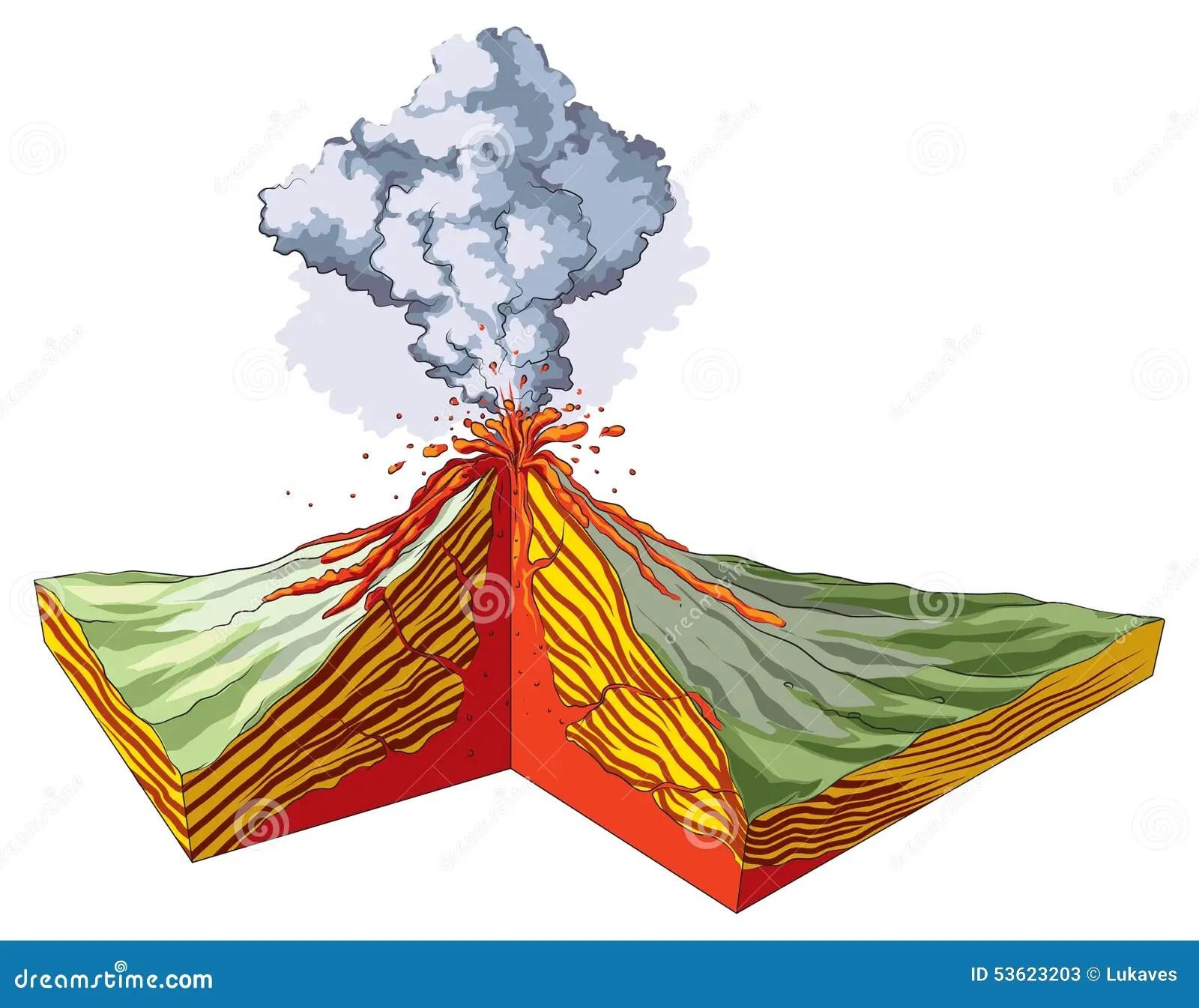 Volcano Stock Vector Illustration Of Divergent Smoke