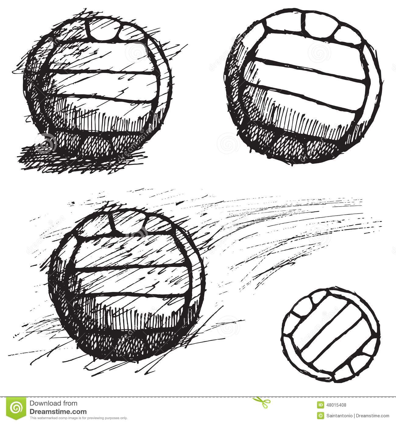 Volleyball Ball Sketch Set Isolated On White Background