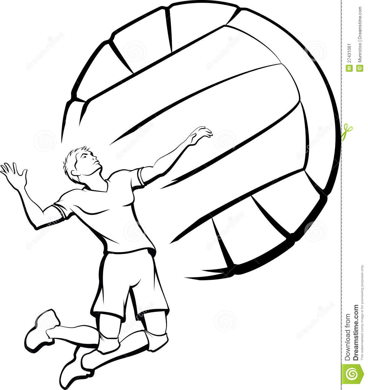 Volleyball Player Spiking Stock Vector Illustration Of