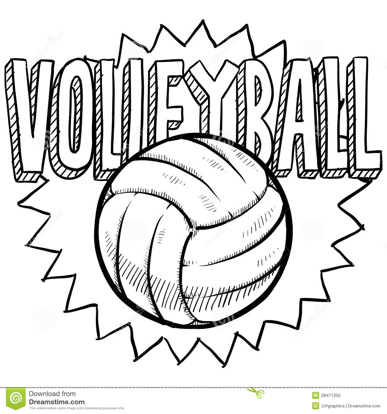 Volleyball Sketch Stock Vector Illustration Of Kids