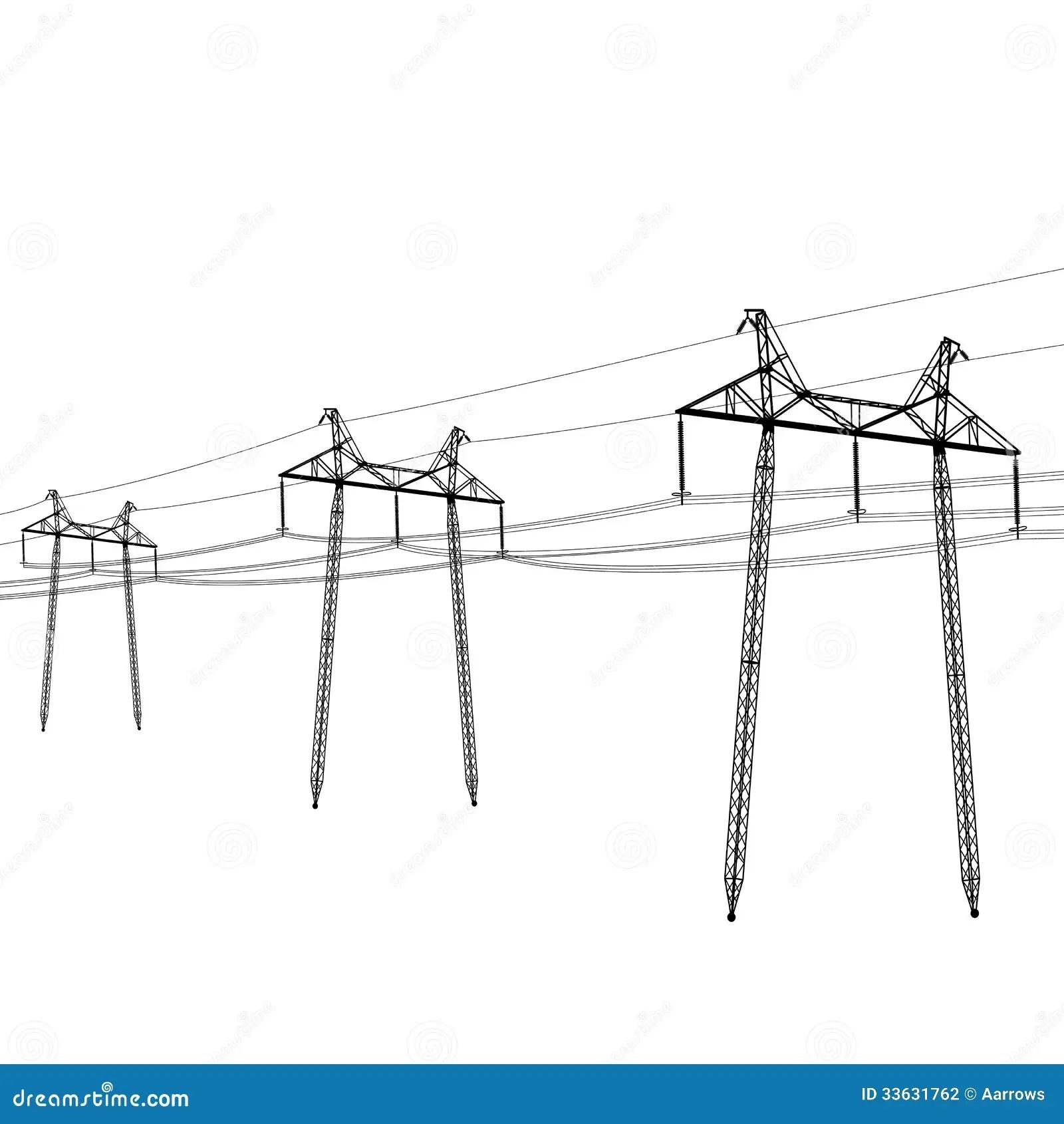 Voltage Power Lines Stock Vector Illustration Of Metallic