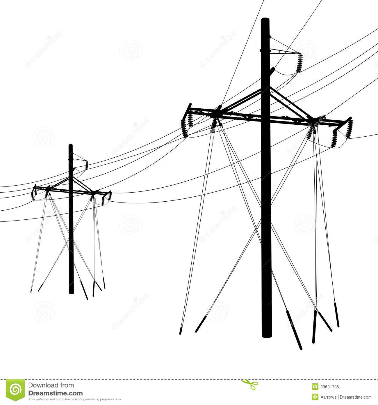 Voltage Power Lines Stock Vector Illustration Of Cable