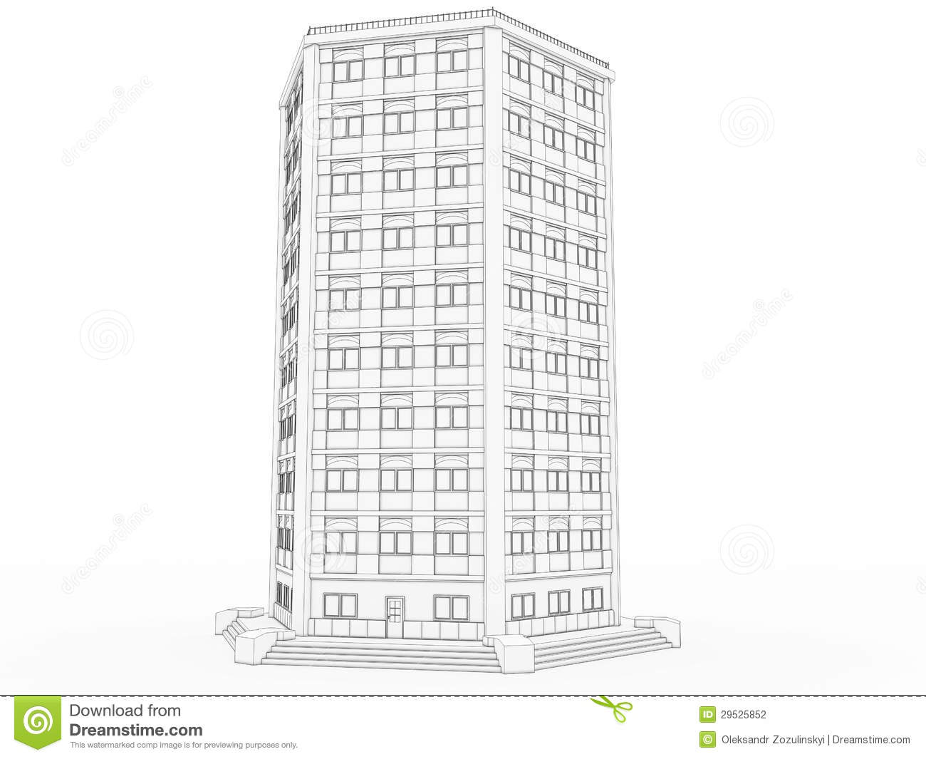 Volumetric The Building Drawing 1 Stock Photography