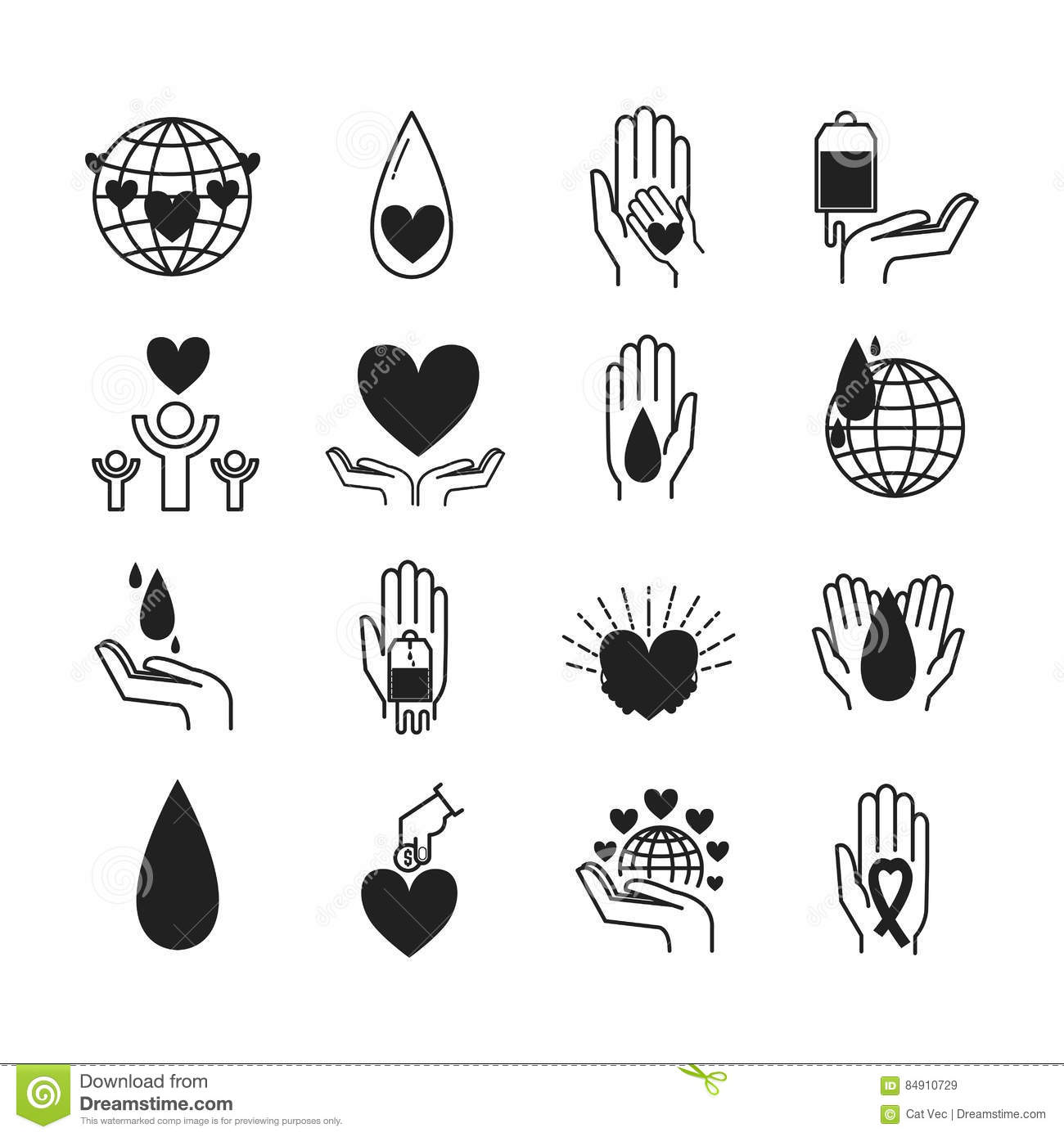 Volunteer Icons Vector Set Stock Vector