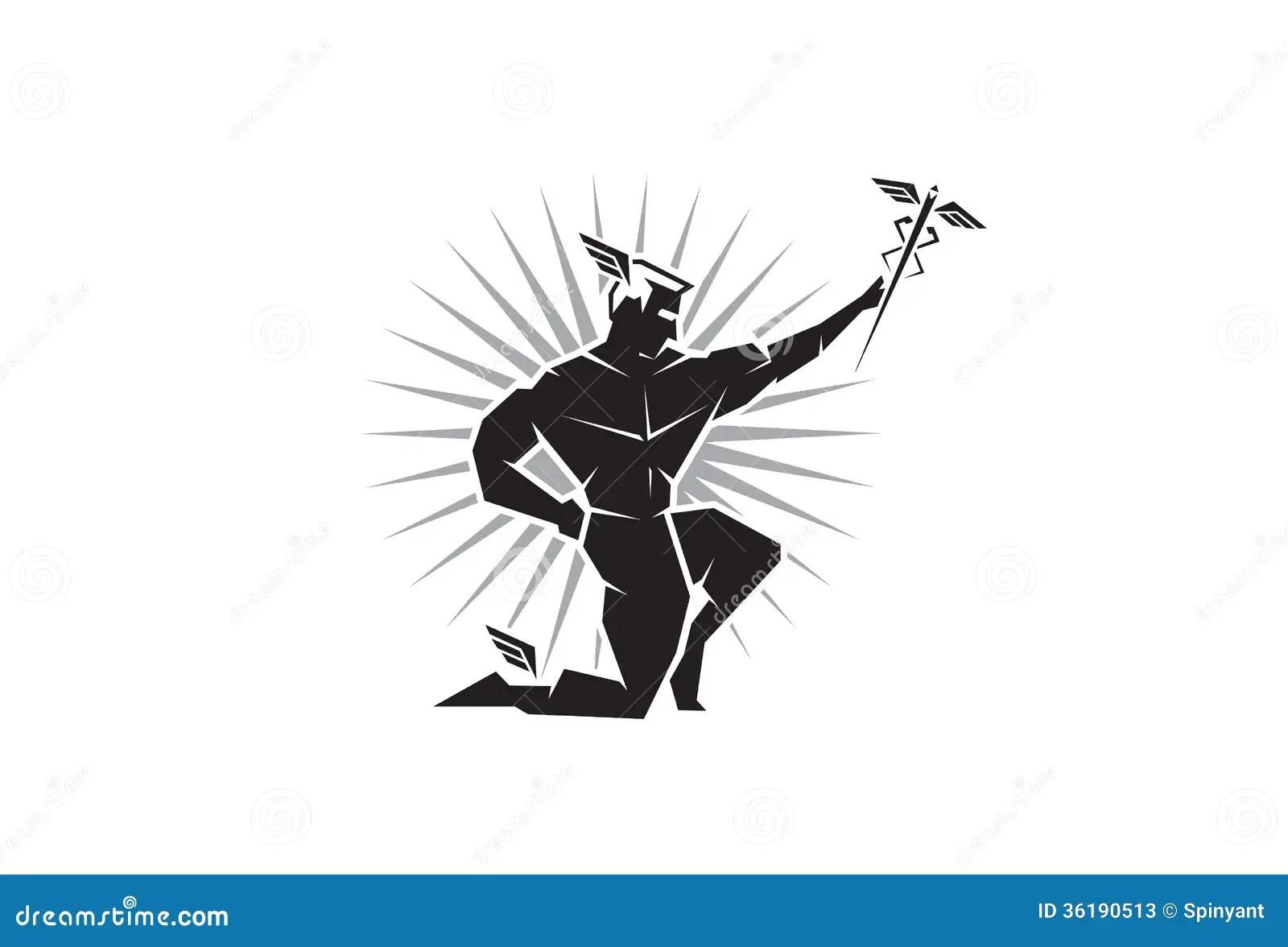 Vue De Face Deu Grec Hermes Illustration De Vecteur