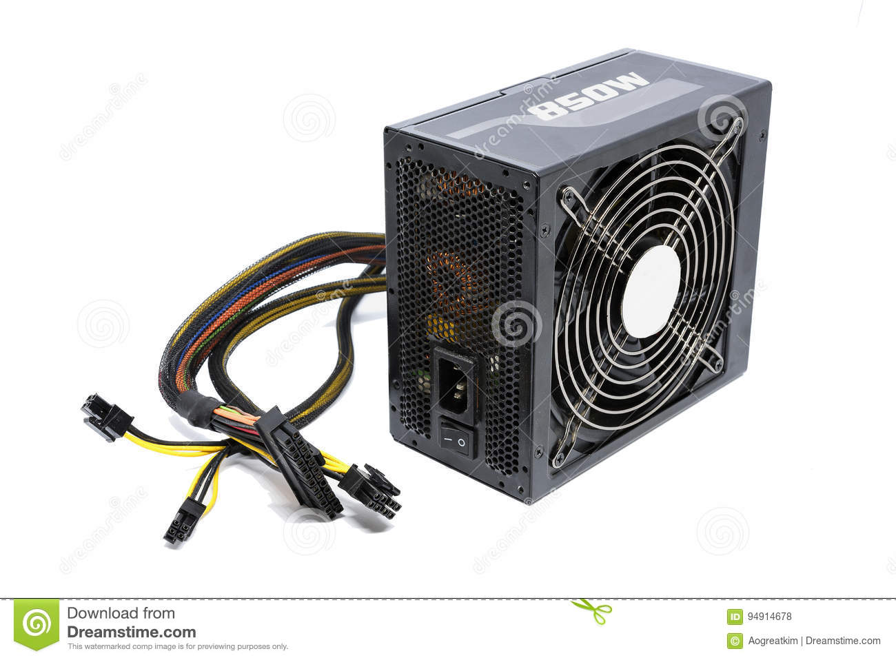 850W Power Supply Unit With Cable And Switch I O, Black
