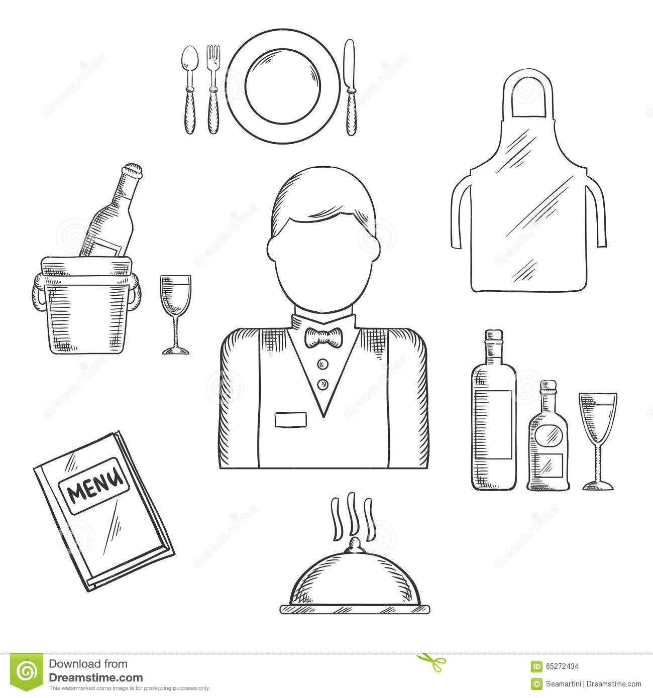 Waiter Profession And Restaurant Catlery Sketch Stock