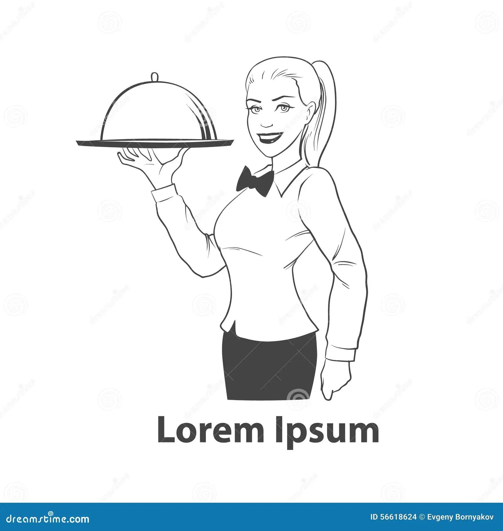 Waitress Stock Illustration Illustration Of Element