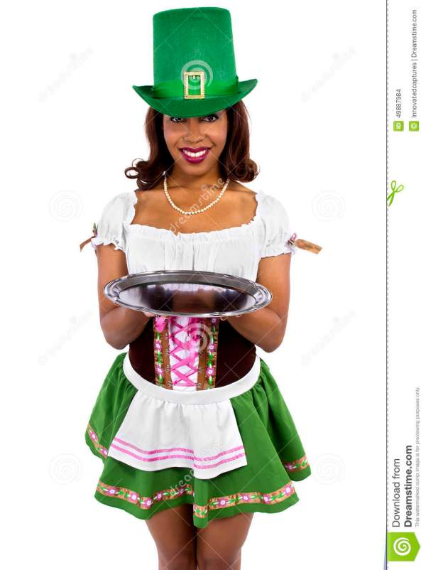 Waitress In St Patrick's Day Costume Stock Photo - Image ...