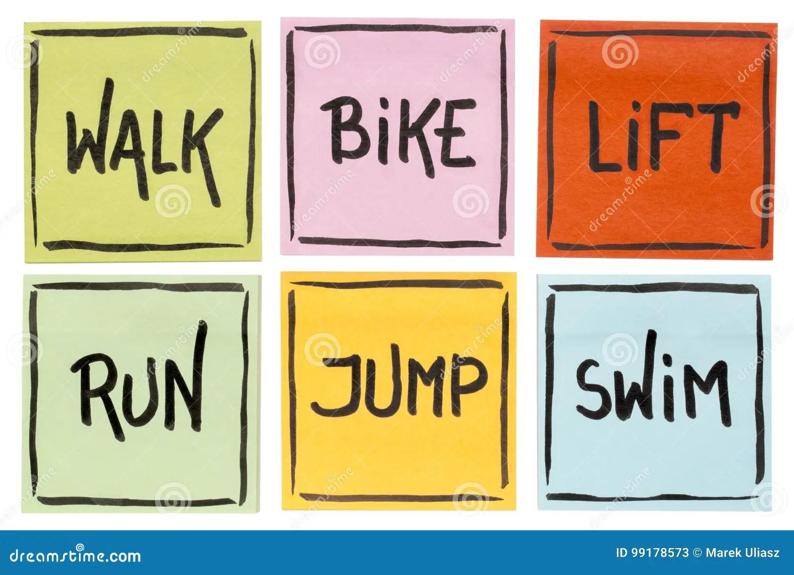 Walk Bike Lift Run Jump Swim
