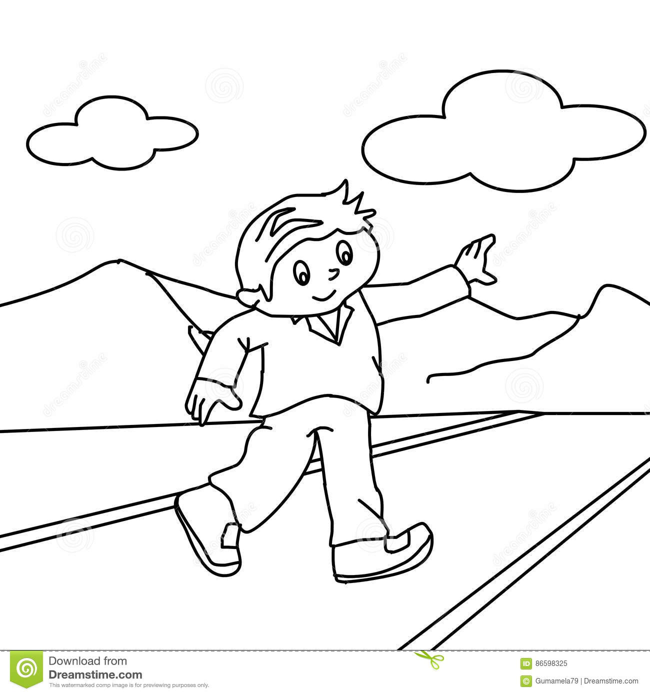 Walking On The Road Coloring Page Stock Illustration