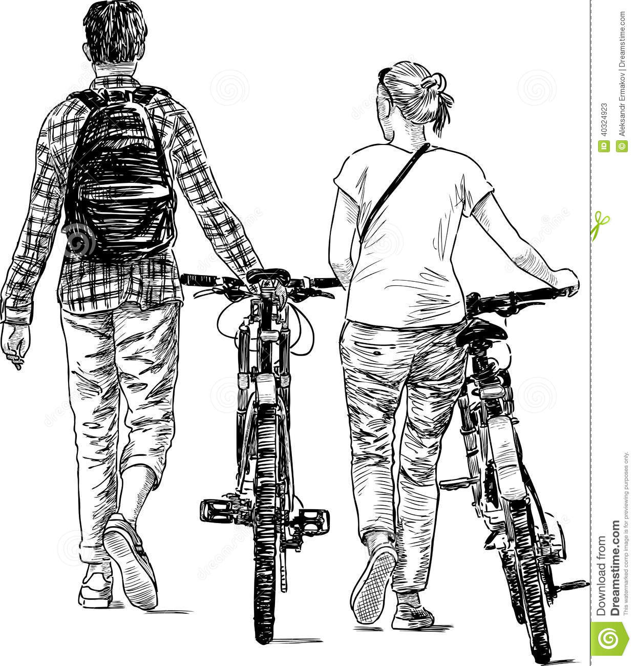 Walking Young People With Bicycles Stock Photo