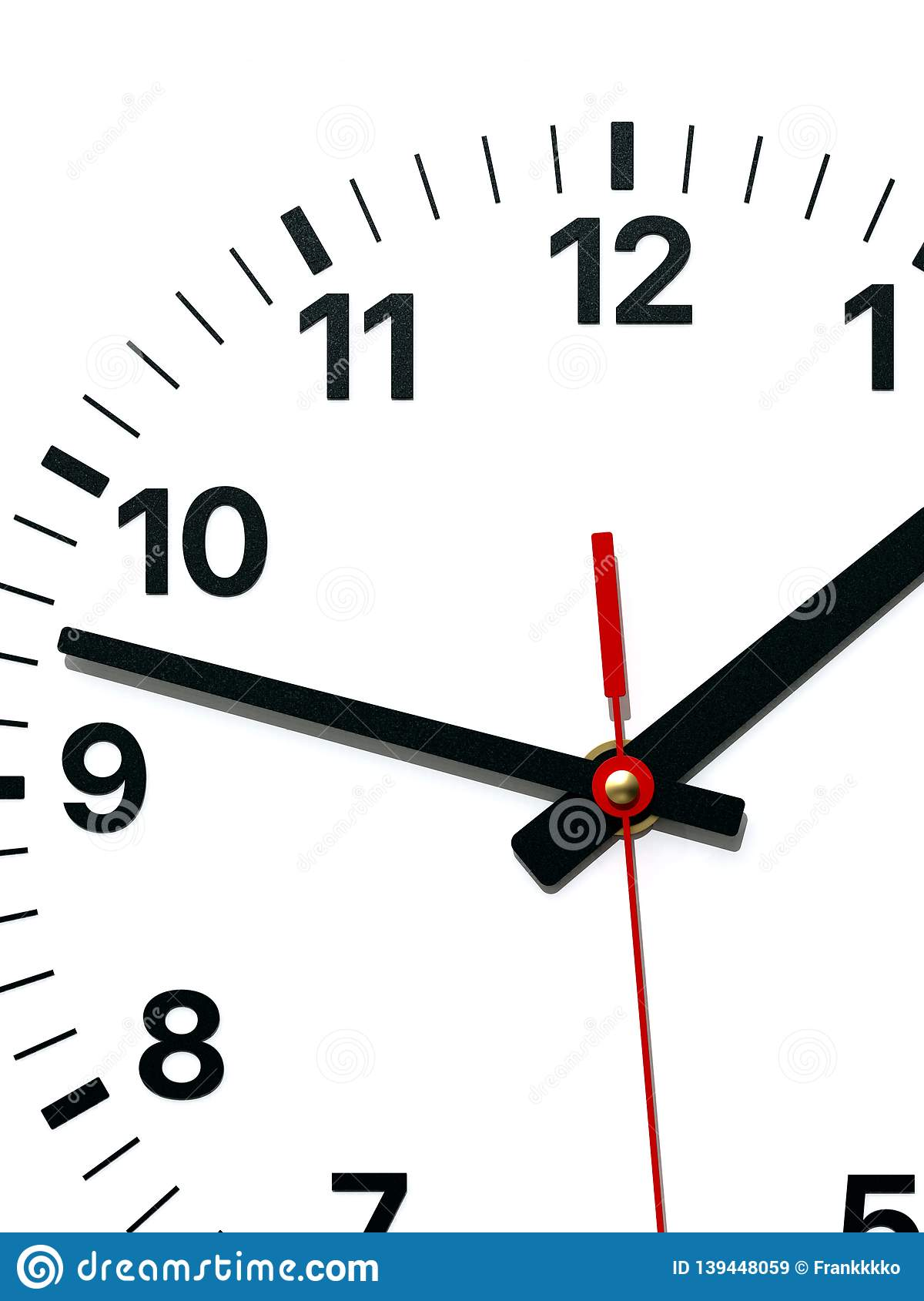 Wall Clock Face With Hour Minute And Second Hands Stock