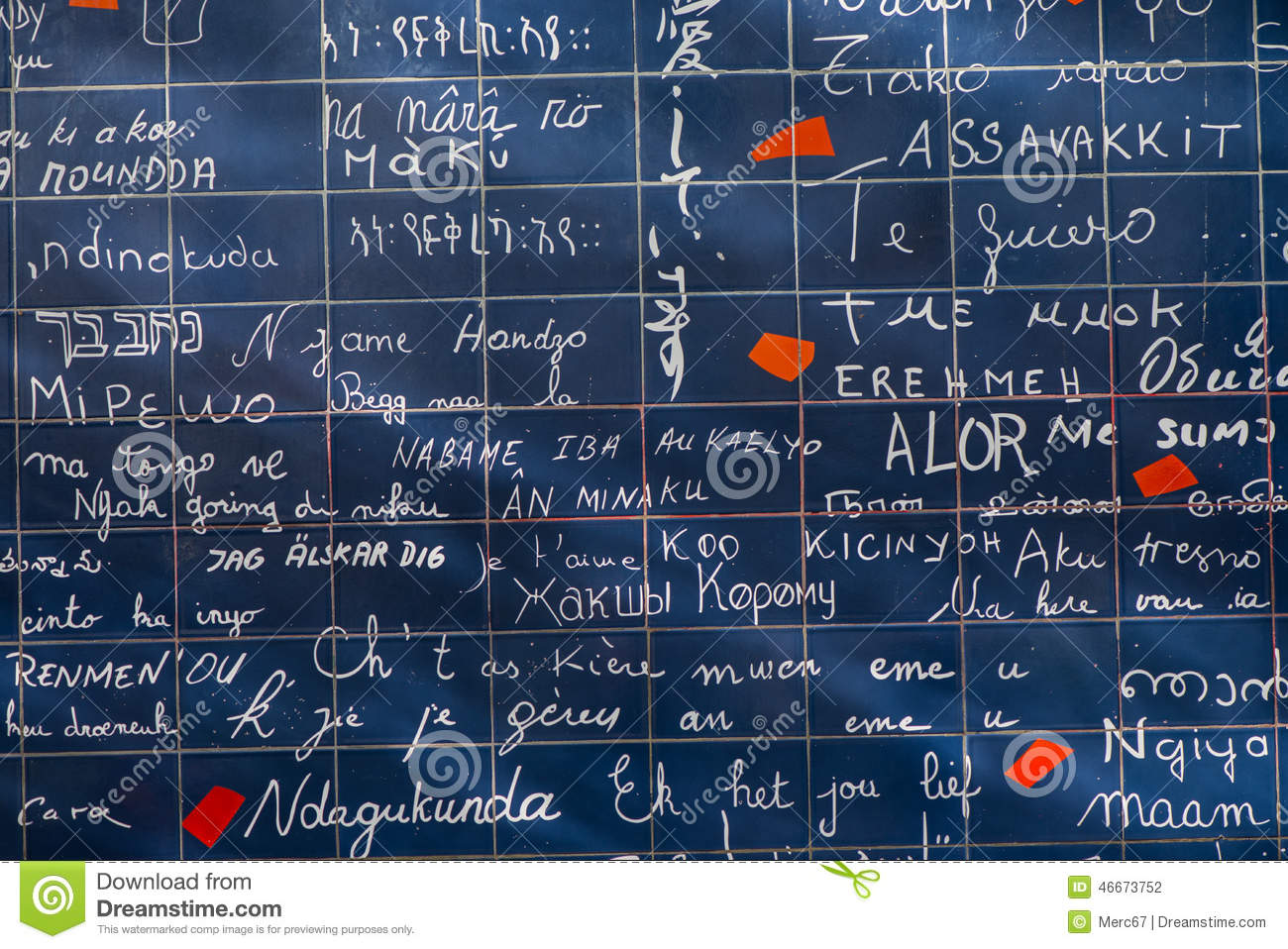 Wall Of Love In Paris France Stock Illustration Image