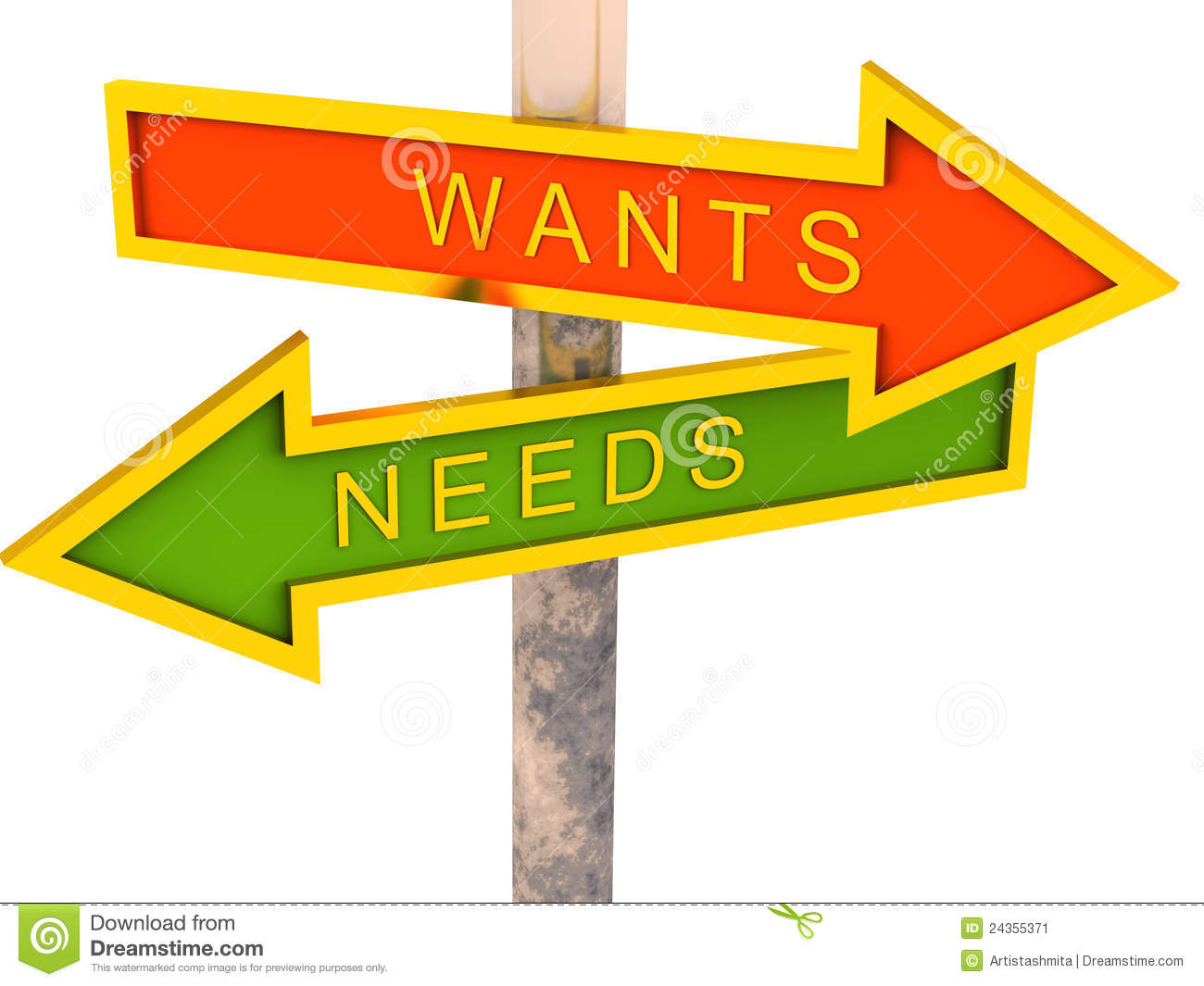 Wants Vs Needs Stock Image