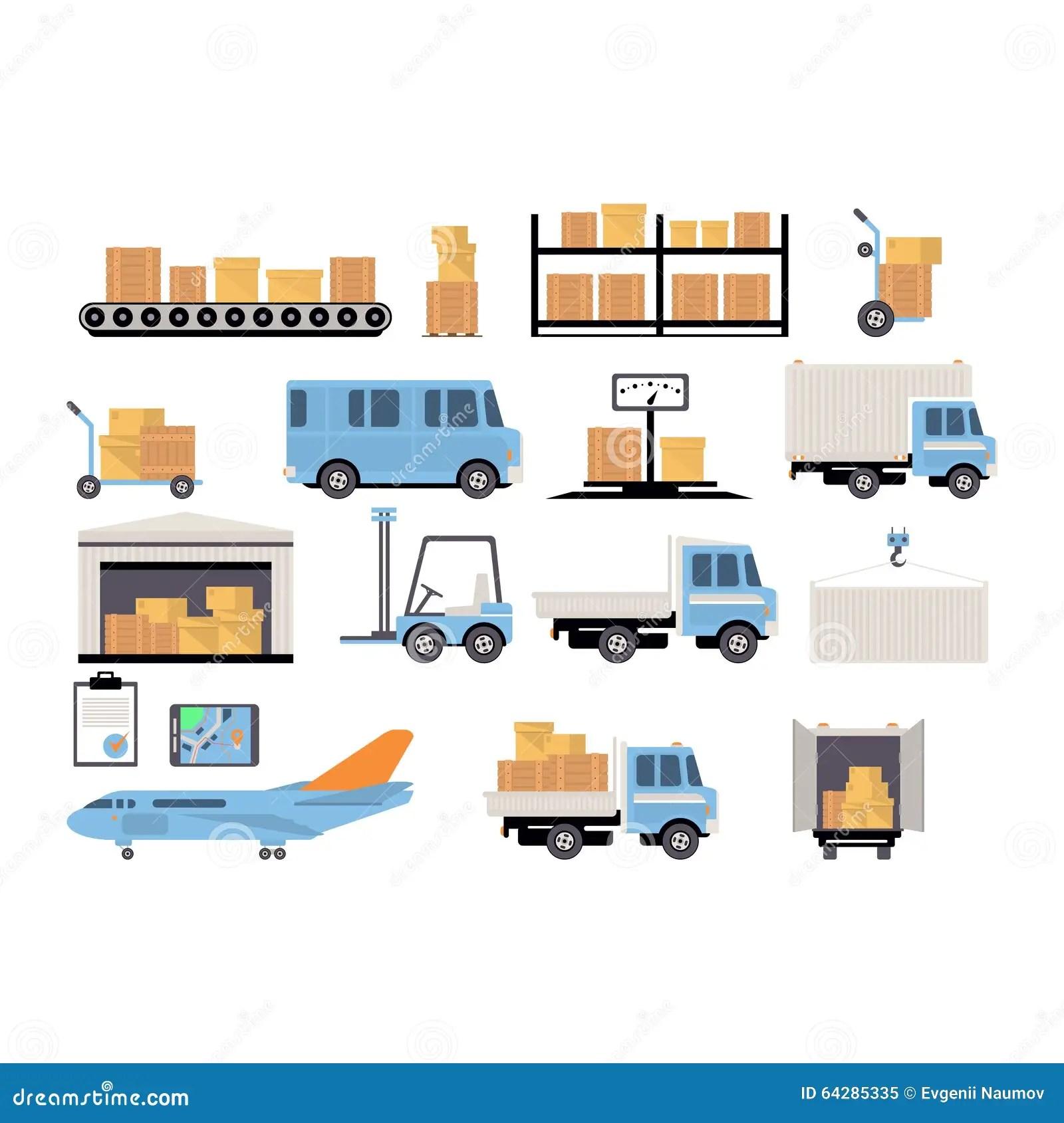 Warehouse Flat Set Of Logistics Packing Process Stock