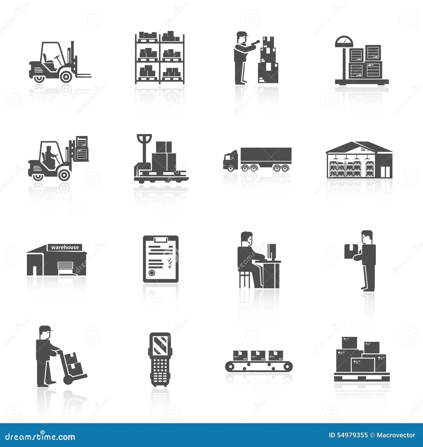 Warehouse Icons Set Stock Vector