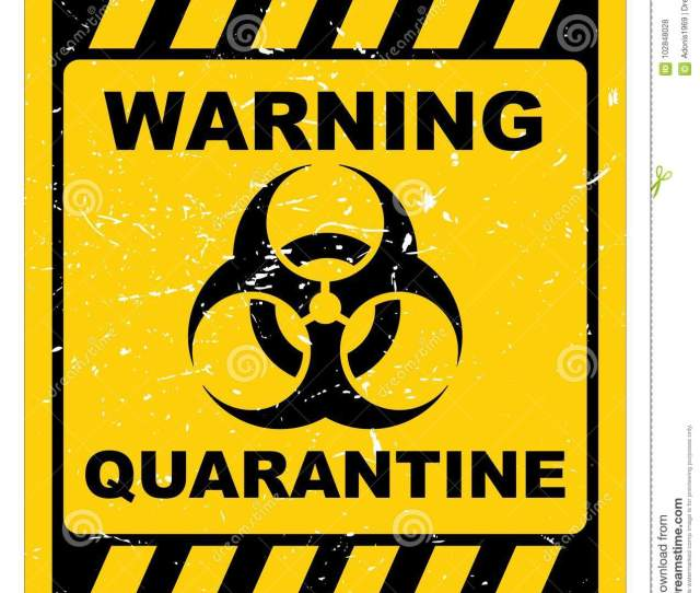 Grunge Yellow And Black Sign With Warning Quarantine Text Graphics
