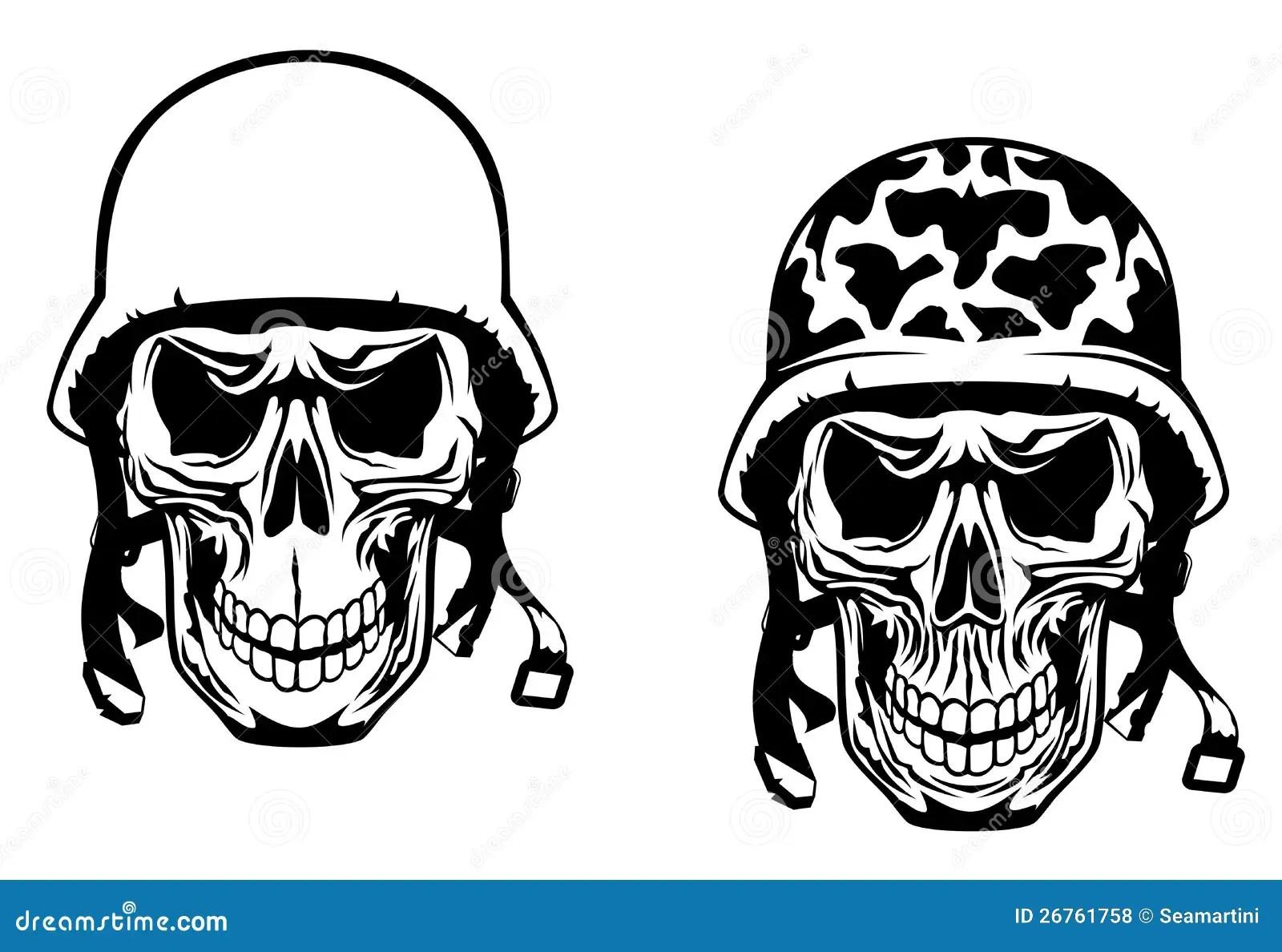 Warrior And Pilot Skulls Royalty Free Stock Photos